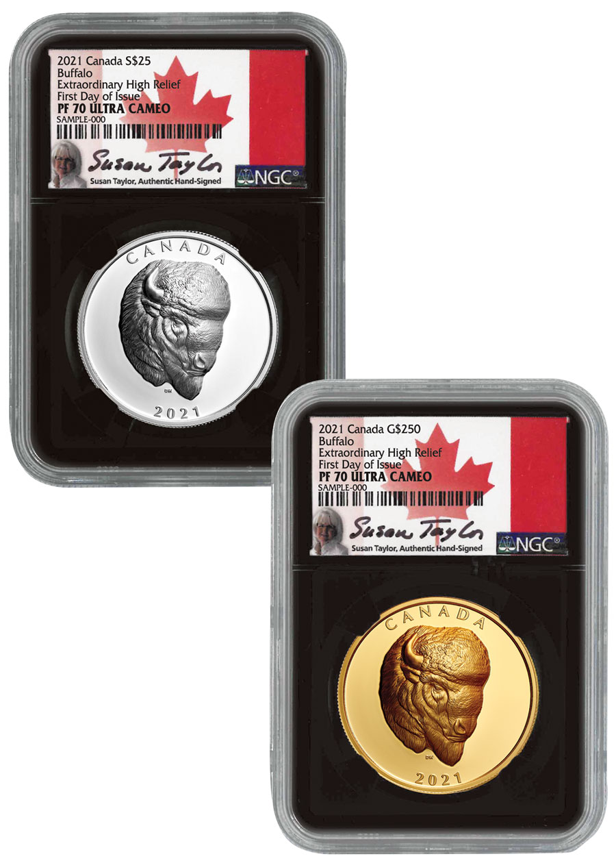 2021 Canada Buffalo - 2-Coin Set Extraordinary High Relief Silver + Gold Proof Coin Scarce and Unique Coin Division NGC PF70 UC FDI Black Core Holder Exclusive Susan Taylor Signed Labels