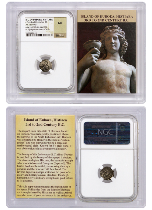 Greek Island of Euboea, Histiaea Silver Tetrobol - Nymph and Nymph on Stem of Ship 3rd-2nd Centuries BC - NGC AU