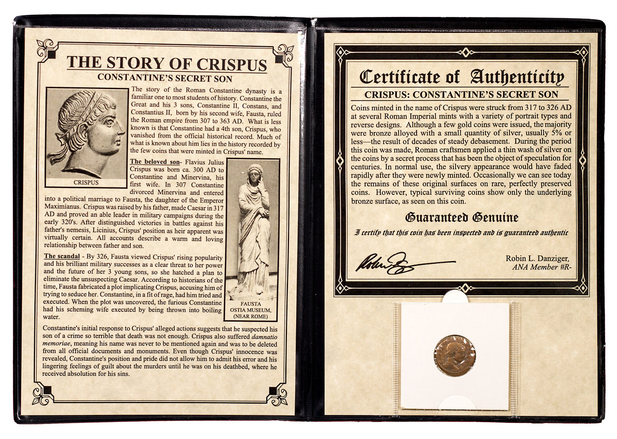 Roman Empire, Billon Nummus of Crispus (AD 316-326) - Constantine's Secret Son (Presentation Portfolio with COA)