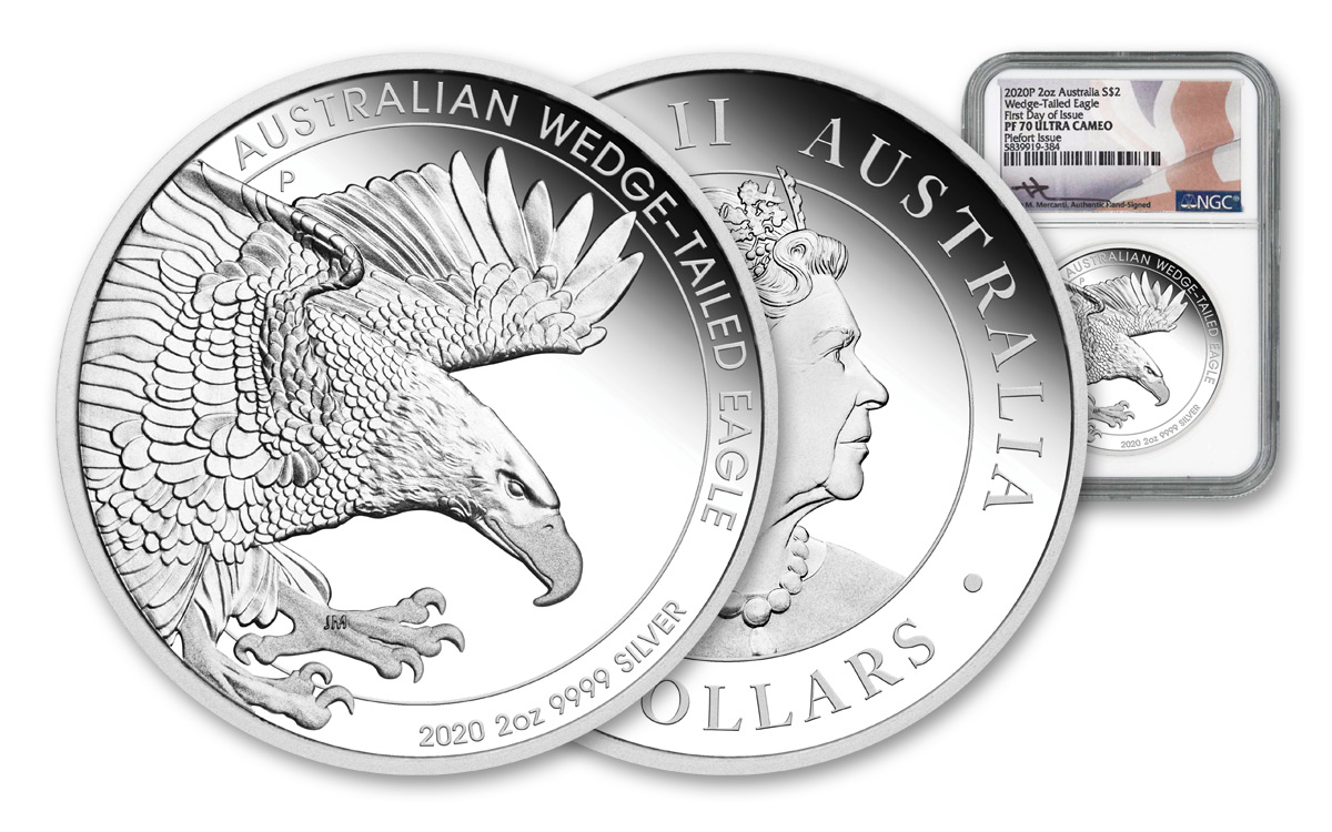 2020-P Australia 2 oz Silver Wedge-Tailed Eagle - Piedfort Proof $2 Coin Scarce and Unique Coin Division NGC PF70 UC FDI Mercanti Signed Flag Label