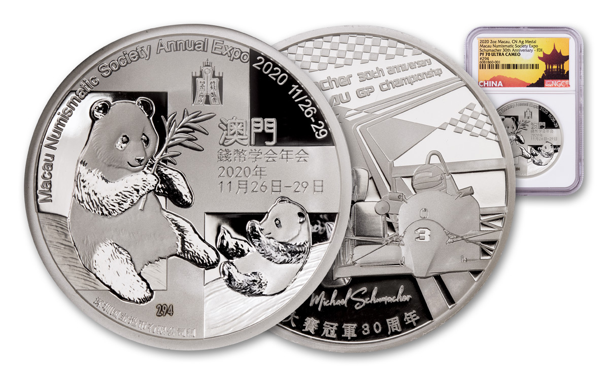 2020 China Macau Numismatic Society Commemorative Show 2 oz Silver Proof Medal Scarce and Unique Coin Division NGC PF70 UC FDI China Pagoda Label