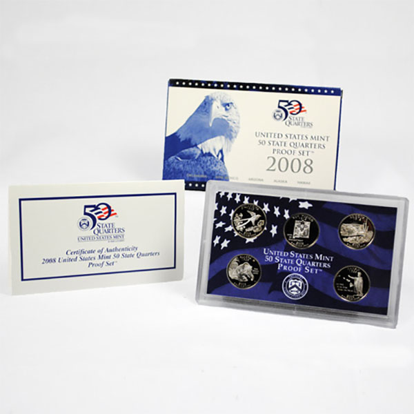 2008-S U.S. 50 State Quarter Proof Set GEM Proof OGP