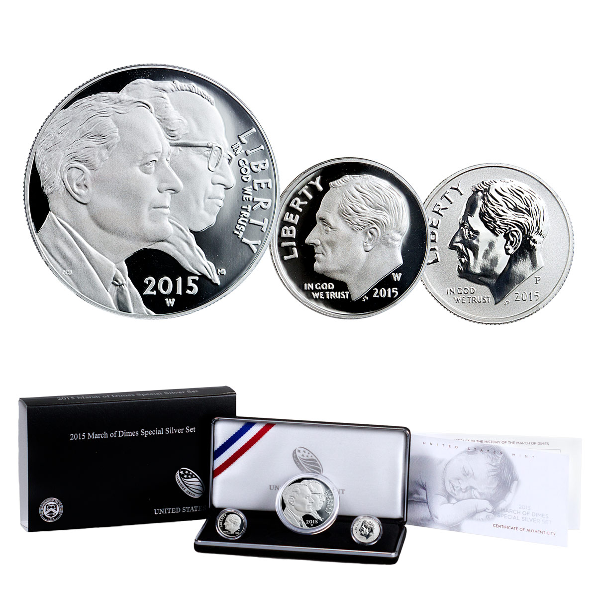2015 March of Dimes Commemorative 3-Coin Set OGP
