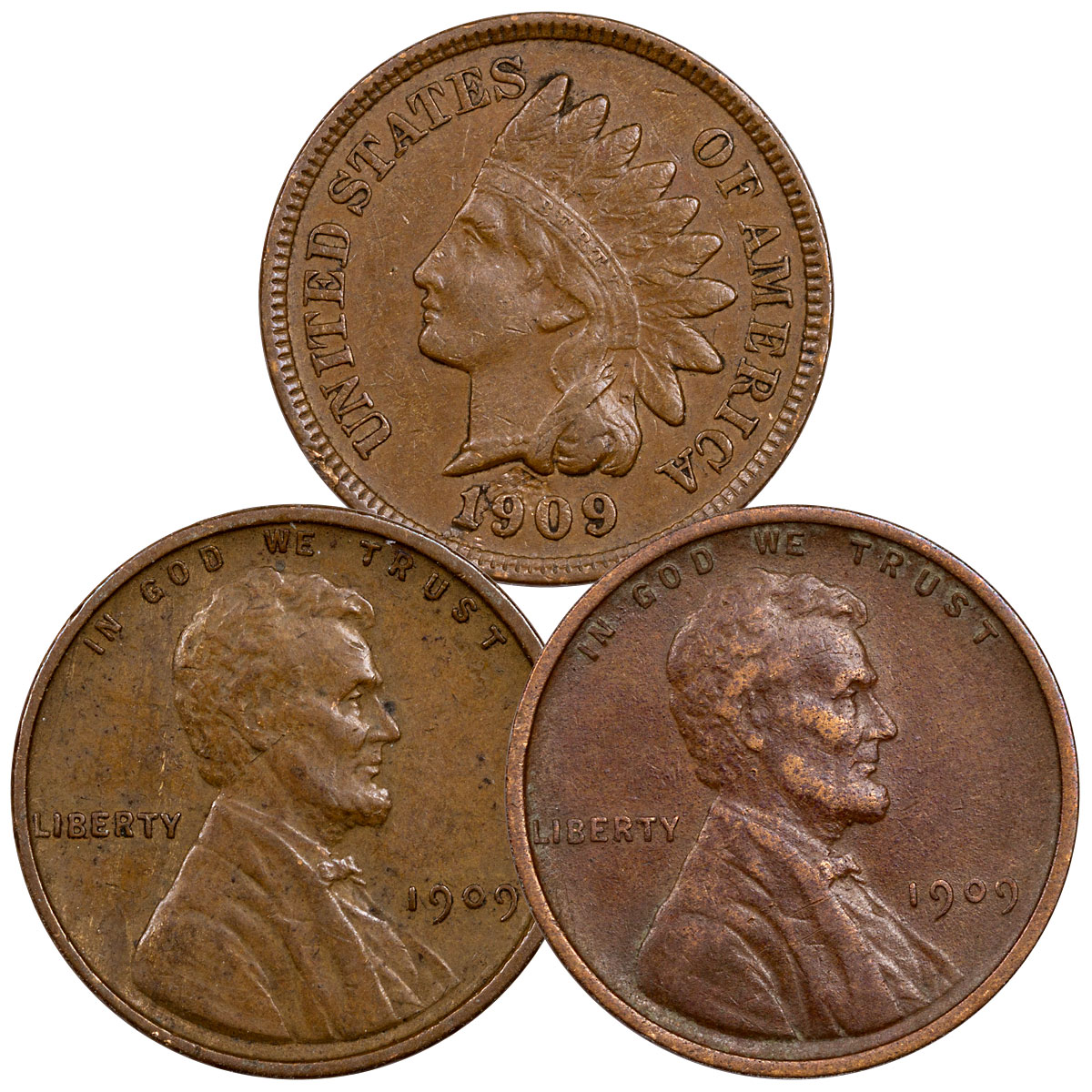 3-Piece Set - 1909 Lincoln Cent Indian Head XF Collection