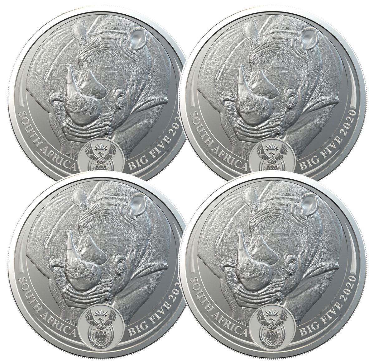 4-Pack - 2020 South Africa Big 5 - African Black Rhino 1 oz Silver R5 Coins with Coin Card