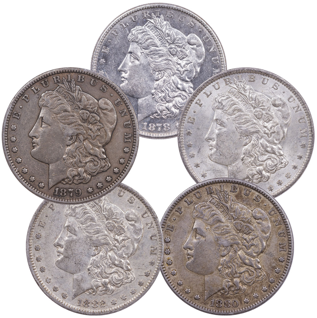 1878-1882 Silver 5-Coin Set Morgan Dollar XF