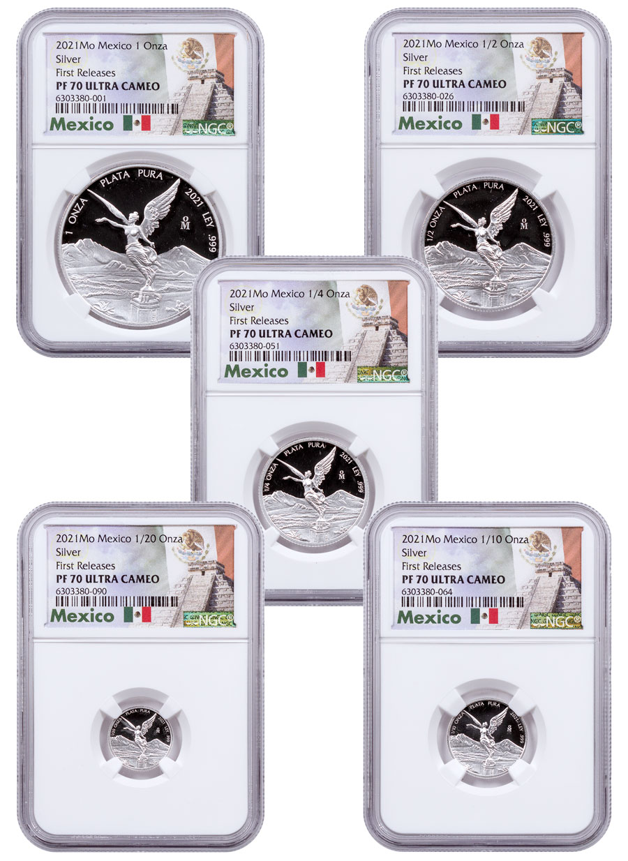 2021-Mo Mexico Proof Silver Libertad - 5-Coin Set NGC PF70 UC FR OGP Exclusive Mexico Label