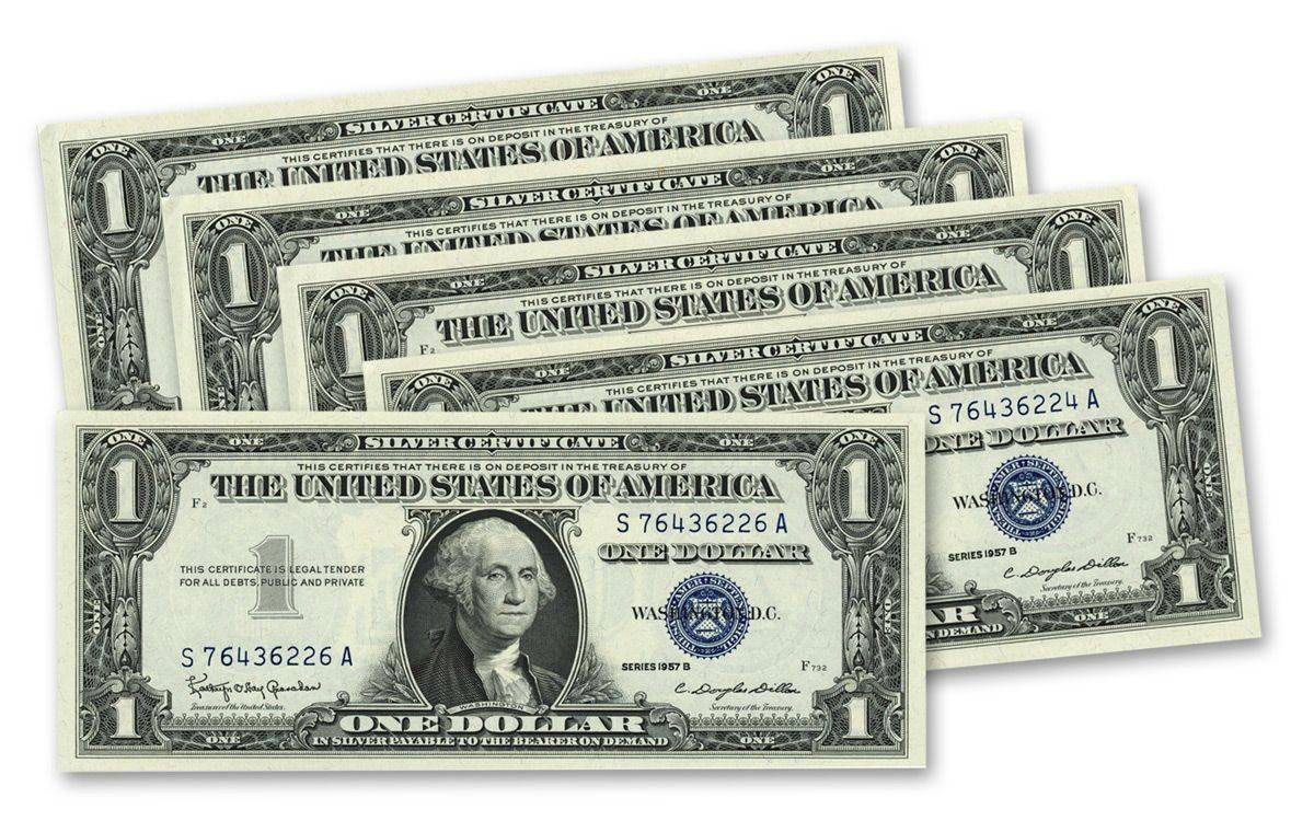 5 Note Set - 1957-B 1 Dollar Silver Certificate Sequential Set