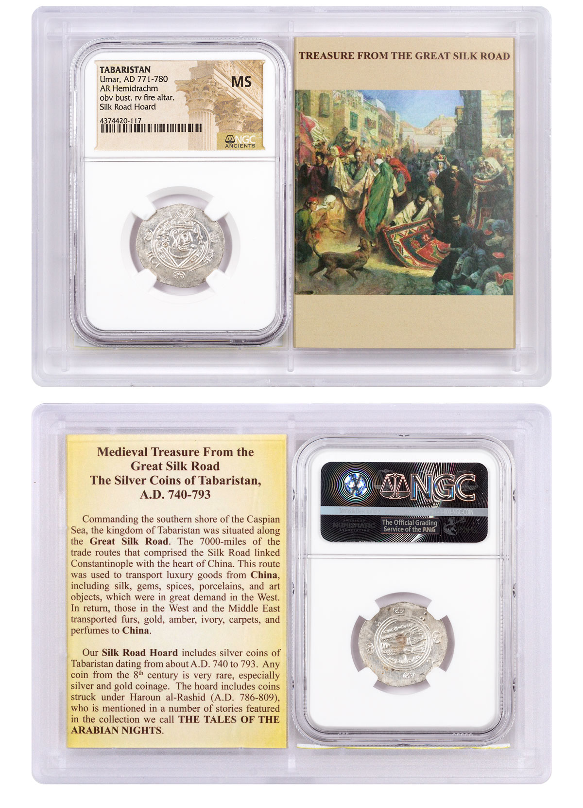 Tabaristan, Silver Hemidrachm of Umar (AD 771-780) - obv. Bust/rv. Fire Altar - Silk Road Hoard NGC MS (Story Vault)