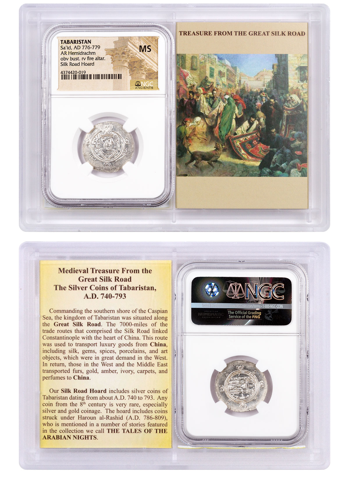 Tabaristan, Silver Hemidrachm of Sa'id (AD 776-779) - obv. Bust/rv. Fire Altar - Silk Road Hoard NGC MS (Story Vault)