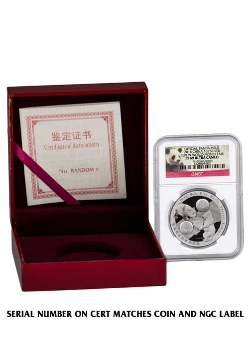 2016 China Berlin World Money Fair 1 oz Silver Show Panda Proof Medal NGC PF69 UC (Exclusive Panda Label)