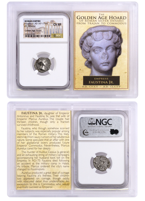 Roman Empire, Silver Denarius of Faustina Jr. (AD 147-175/6) - Golden Age Hoard NGC Ch. XF Story Vault