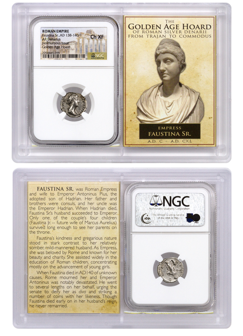 Roman Empire, Silver Denarius of Faustina Sr. (AD 138-140/1) - Posthumous Issue - The Golden Age Hoard NGC Ch. XF (Story Vault)