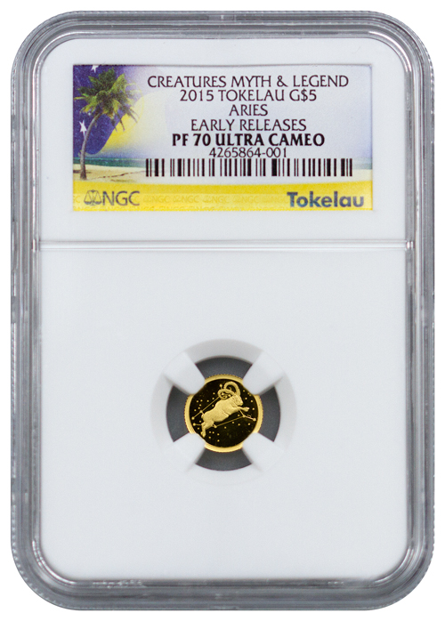 2015 Tokelau $5 1/2 g Proof Gold Creatures of Myth and Legend Aries - NGC PF70 UC Early Releases (Exclusive Label)