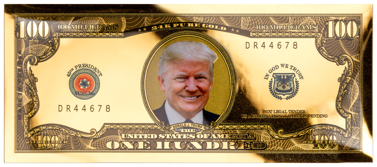 100 mg Gold Aurum Liberty Gold Foil Note Trump BU