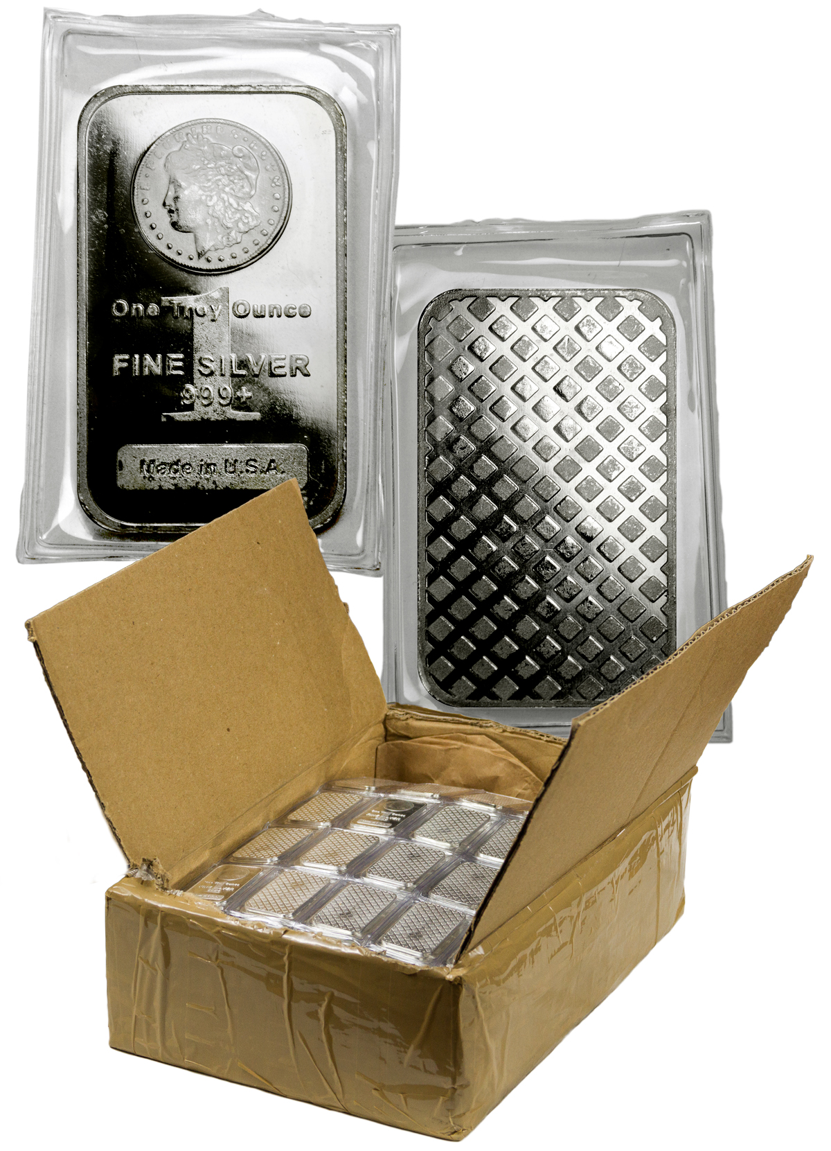Monster Box of 500 Highland Mint Morgan Dollar Design 1 oz Silver Bars (Mint Sealed)