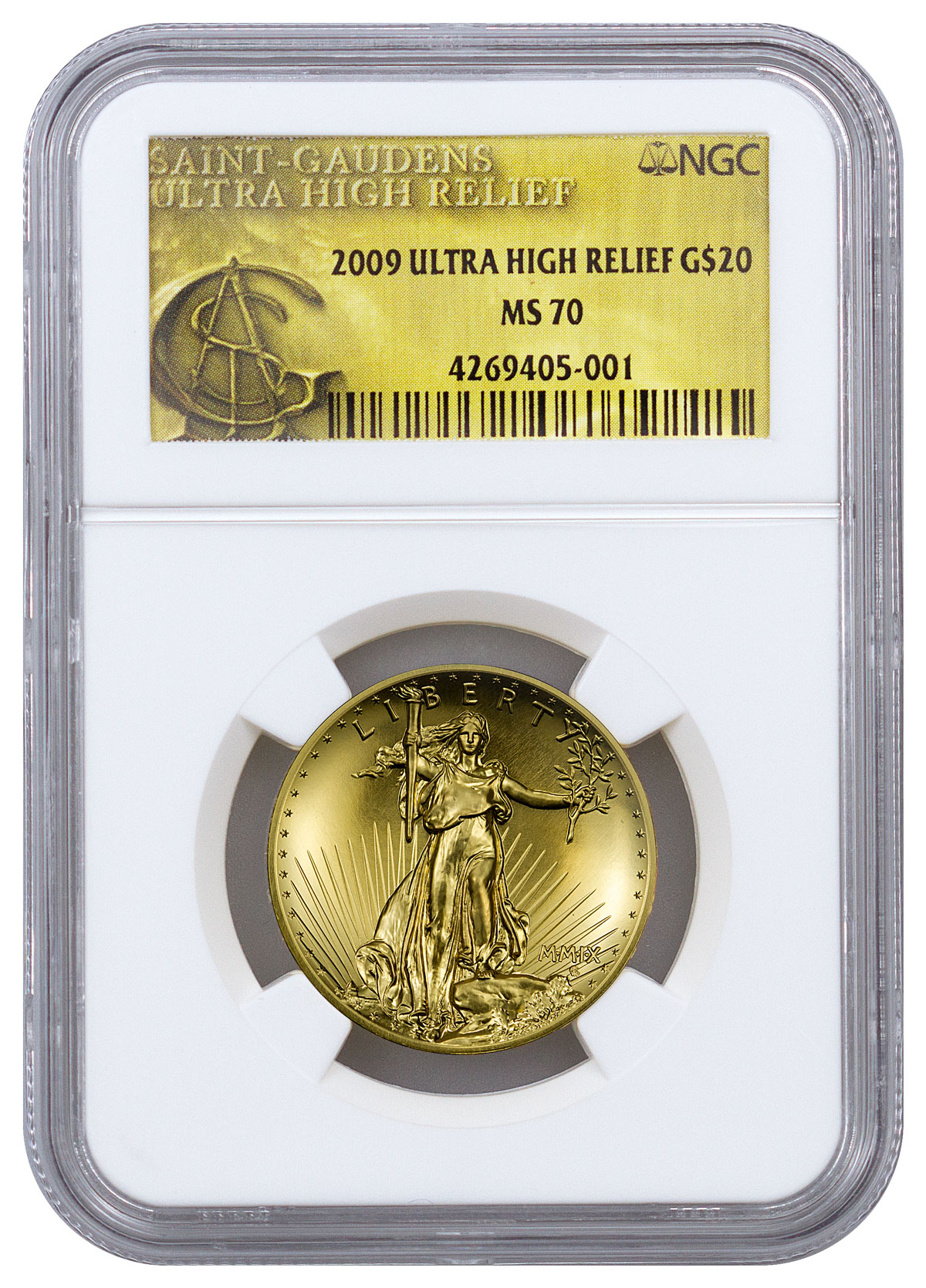 2009 Ultra High Relief Gold Saint-Gaudens Double Eagle $20 NGC MS70