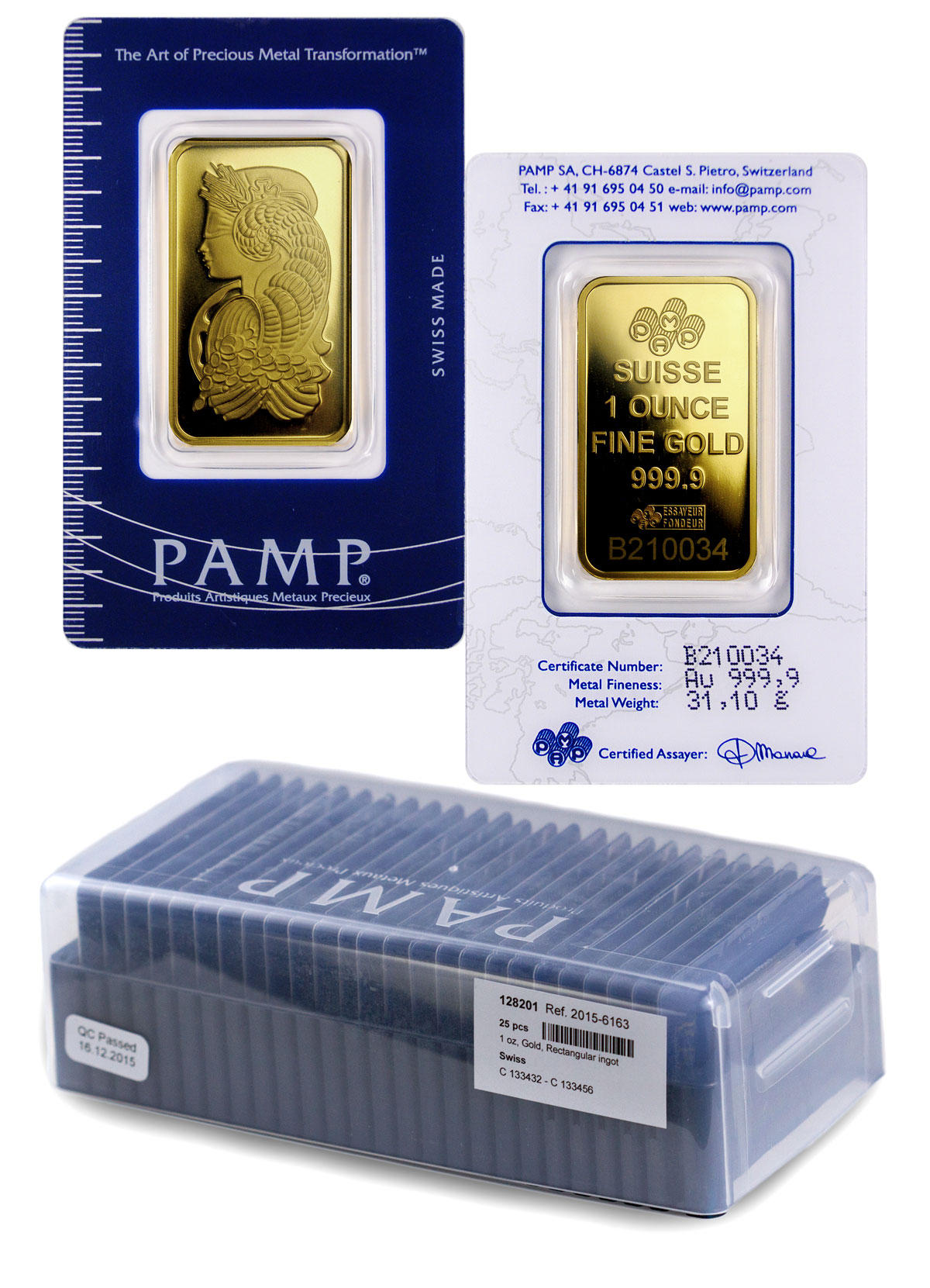Box of 25 PAMP Fortuna 1 oz Gold Bars In Assay