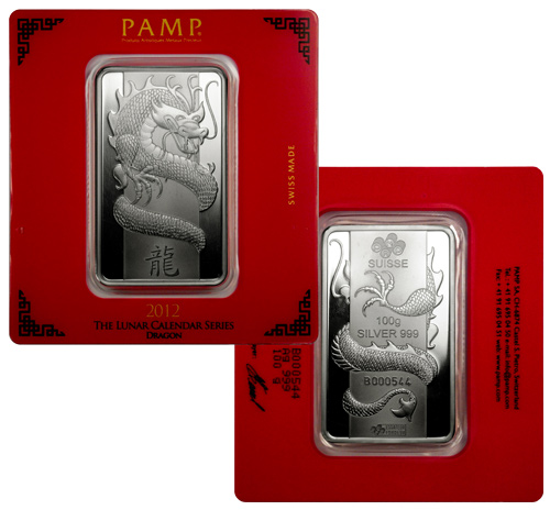 2012 Pamp Lunar Year Of The Dragon 100 G Silver Bar In