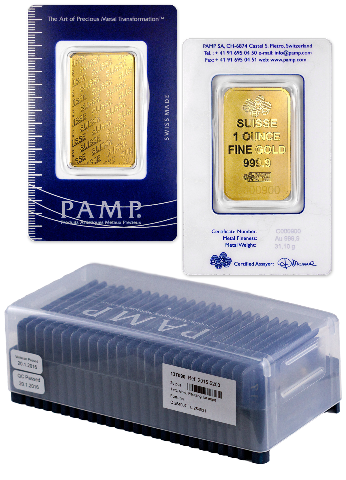 Box of 25 PAMP Logo 1 oz Gold Bars In Assay