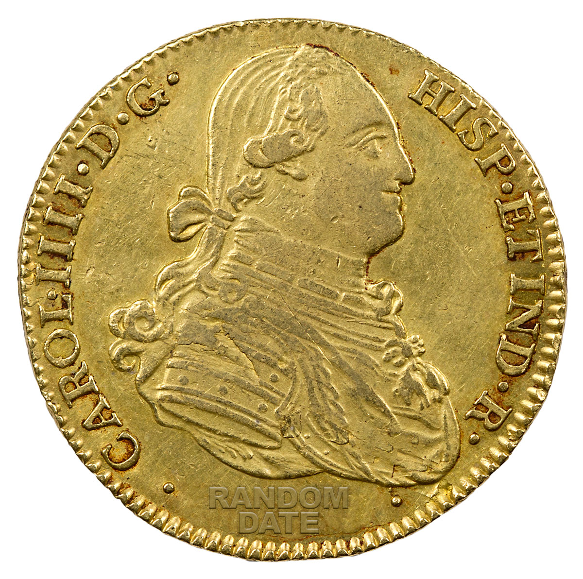 Random Date 1789-1797 Spain Gold 4 Escudos - Portrait Type XF