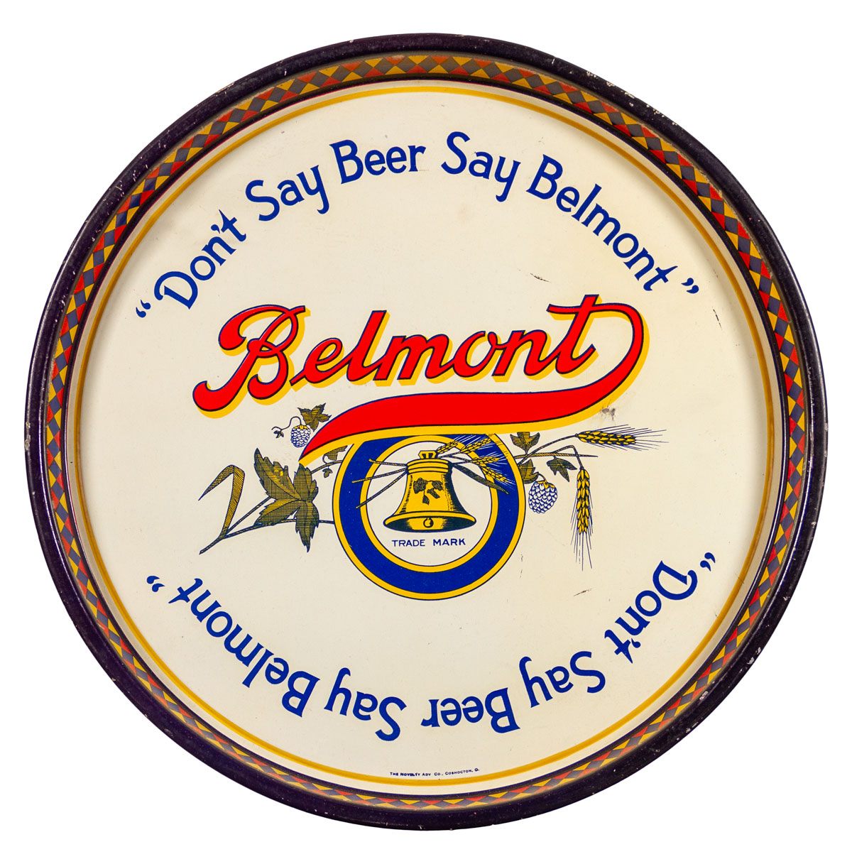 Belmont Pre Prohibition Beer Tray Excellent