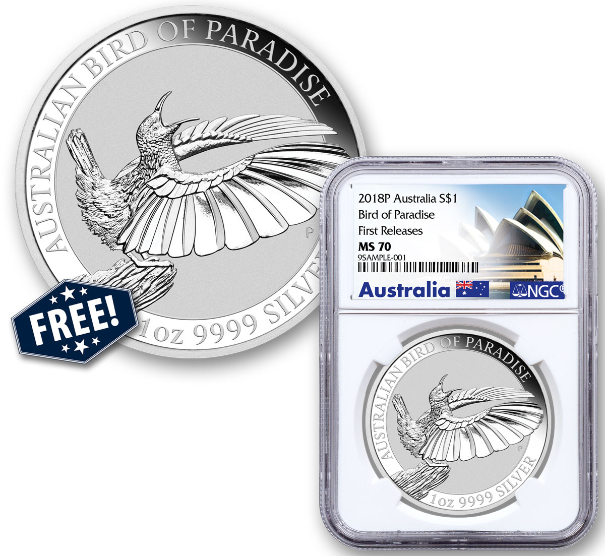 2018-P Australia 1 oz Silver Bird of Paradise $1 Coin NGC MS70 FR Exclusive Australia Label + FREE 2018-P Australia 1oz Silver Bird of Paradise $1 Coin GEM BU