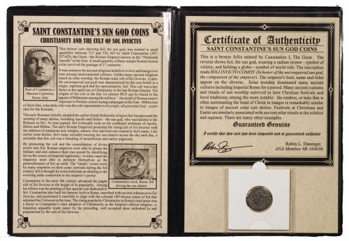 Roman Empire, Billon Nummus of Constantine I (AD 313-326) - Saint Constantine's Sun God Presentation (Portfolio with COA)