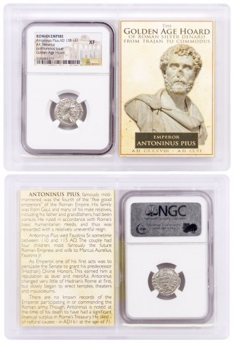 Roman Empire, Silver Denarius of Antoninus Pius (AD 138-161) - The Golden Age Hoard NGC XF (Story Vault)