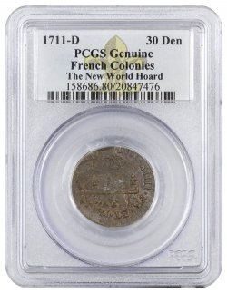 1711-D France Billon 30 Denier Coin New World Hoard PCGS Genuine