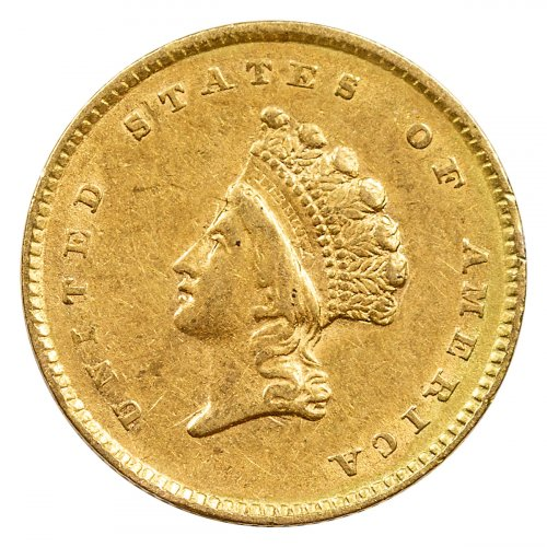 Random Date 1854-1856 $1 Gold Type II Indian Princess Small Head BU