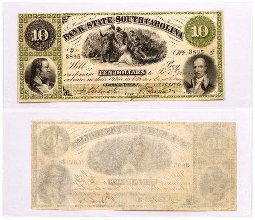 1861 $10 Obsolete Bank note - State of South Carolina Columbia F-XF