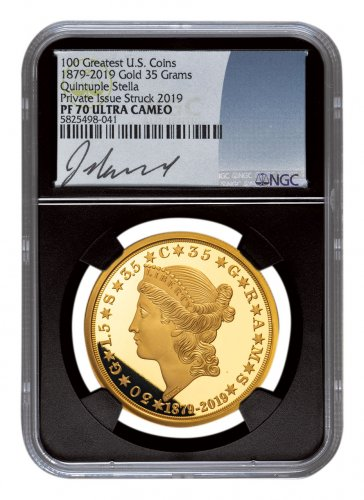 1879-2019 Quintuple Stella Smithsonian Gold Proof $20 Medal Scarce and Unique Coin Division NGC PF70 UC Exclusive Jeff Garrett Signed Label