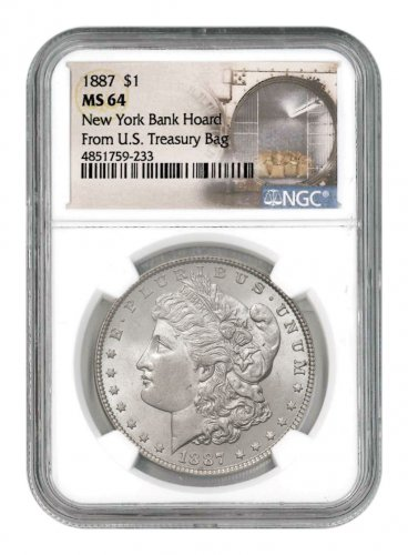 1887 Morgan Silver Dollar From the New York Bank Hoard NGC MS64