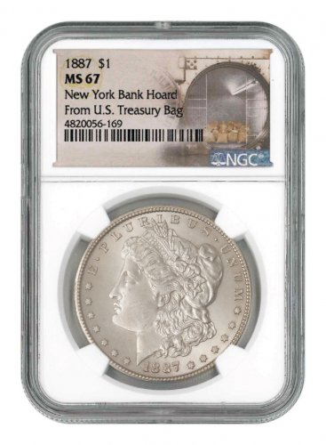 1887 Morgan Silver Dollar From the New York Bank Hoard NGC MS67