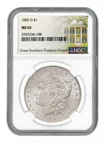 1902-O Morgan Silver Dollar NGC MS63 Great Southern Hoard Treasury Hoard Label
