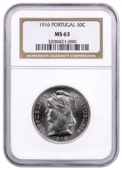 1916 Portugal Silver 50 Centavos NGC MS63