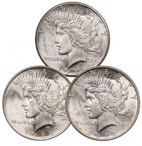 1922-D+P+S Silver 3-Coin Set Peace Dollar Brilliant Uncirculated Set
