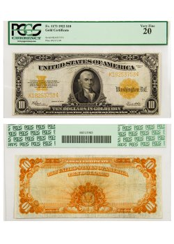 1922 10 gold certificate fr 1173 s n k18253753 plate a517 199 pcgs