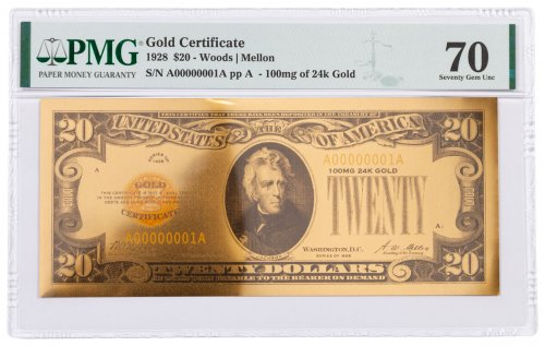 1928 $20 24KT Gold Certificate Commemorative PMG 70 Gem Unc