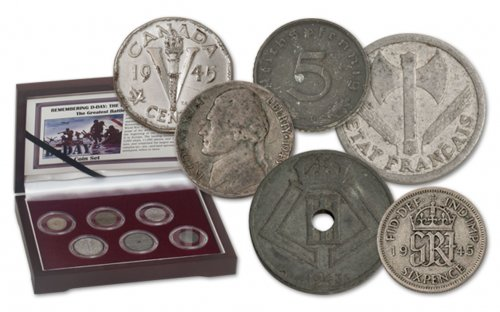 6-Piece Set - 1937-1944 World Coins D-Day Invasion Circulated Presentation Box with Story Card & COA