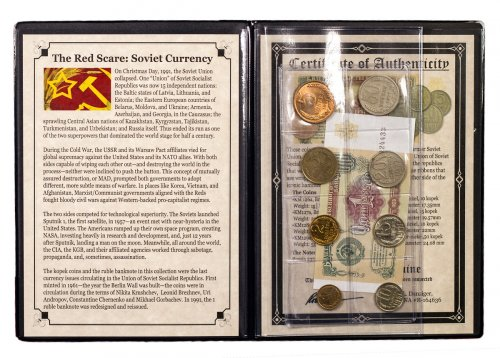 1945-1991 USSR Coins & Banknotes - The Red Scare (Presentation Portfolio with COA)