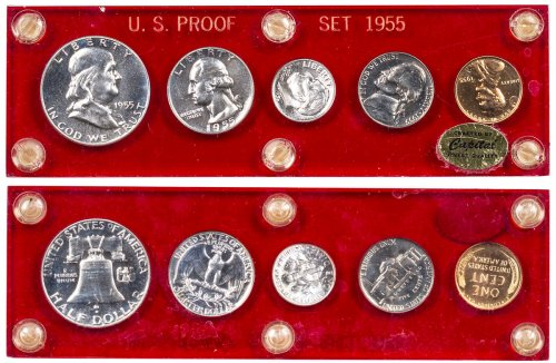 1955 U.S. Silver Proof Coin Set GEM Proof Capital Plastic Holder