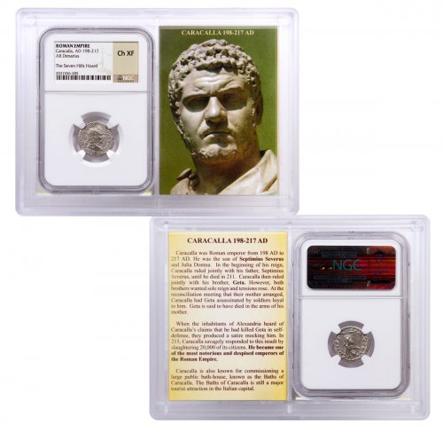 Roman Empire, Silver Denarius of Caracalla (AD 198-217) - The Seven Hills Hoard NGC Ch. XF (Story Vault)