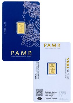 PAMP Fortuna 1 g Gold Bar In Assay
