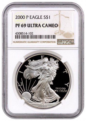 2000-P Proof American Silver Eagle NGC PF69 UC