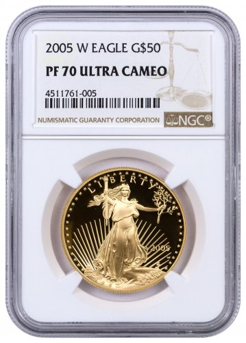 2005-W 1 oz Gold American Eagle Proof $50 NGC PF70 UC
