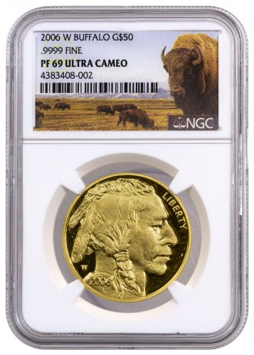2006-W 1 oz Gold Buffalo Proof $50 NGC PF69 UC (Buffalo Label)
