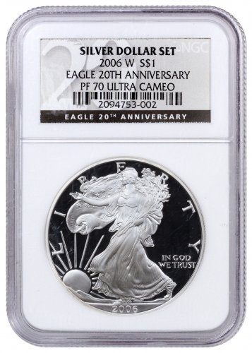2006 W Proof American Silver Eagle Ngc Pf70 Uc 20th