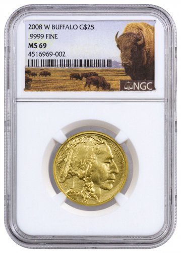 2008-W 1/2 oz Burnished Gold Buffalo $25 NGC MS69 (Buffalo Label)
